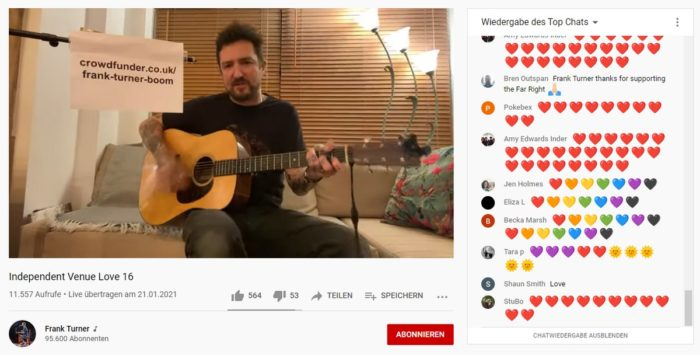 screenshot of frank turner live stream and hearts against hate in the chat